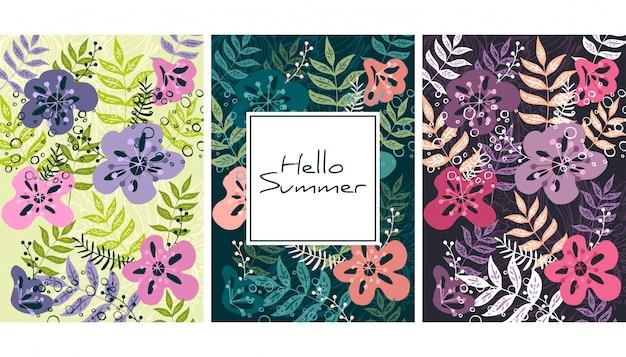 Wzór liści i kwiatów