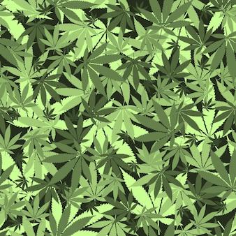 Wzór liści konopi bez szwu. medyczna marihuana, zalegalizuj koncepcję kultury.