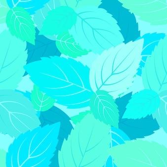 Wzór liści mięty. kwiatowy tło.