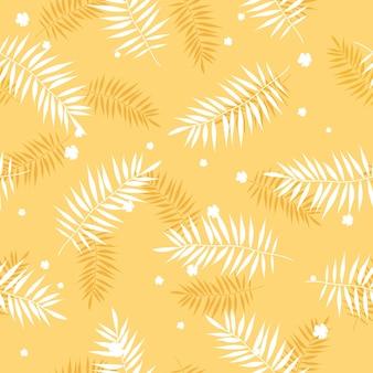 Wzór liści palmowych w kolorze żółtym w płaskim stylu na letnie tło i tekstylia