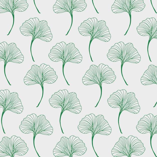 Wzór liści z liśćmi ginko