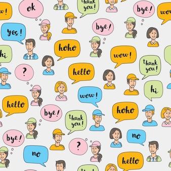 Wzór llustrartion interaktywnych wielobarwnych bąbelków mowy i awatarów ludzi.