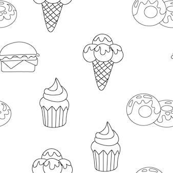 Wzór lody, ciastko, pączek. tło tekstury deser. bezszwowe tło. ilustracja wektorowa eps 10 dla swojego projektu.