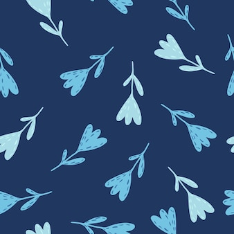 Wzór losowe jasnoniebieskie tulipany. ręcznie rysowane stylizowany nadruk botaniczny na granatowym tle.