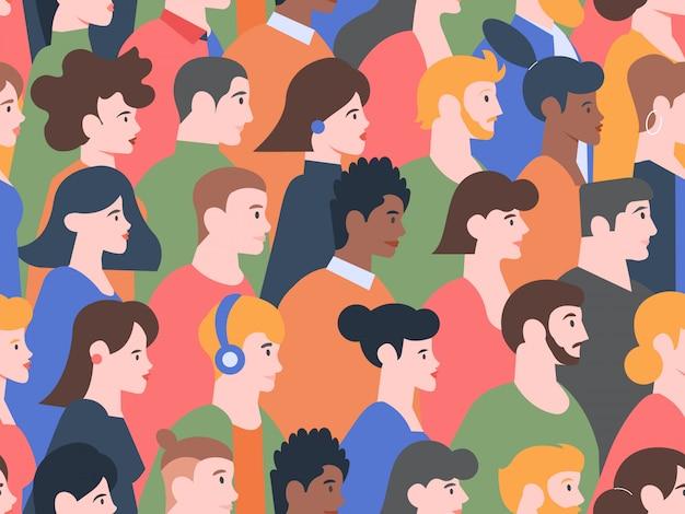Wzór ludzi bez szwu profilu. stylowi mężczyźni i kobiety różne fryzury, głowy postaci młodych i starszych, współczesne portrety ludzi w tle