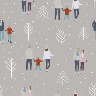 Wzór ludzi na łyżwach