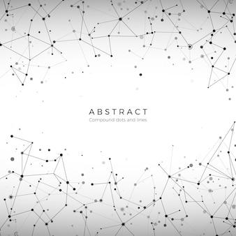 Wzór macierzy splotu. cząsteczki, kropki i linie. koncepcja big data cyfrowej siatki. element tła technologii. wielokątna ilustracja