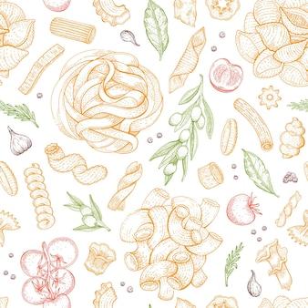 Wzór makaronu wektor włoski jedzenie bezszwowe tło