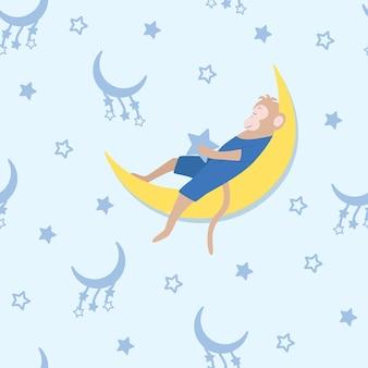 Wzór małpy śpiącej na księżycu, gwiaździste niebo.