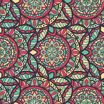 Wzór mandali bez szwu wektor wzór do druku. ornament plemienny.
