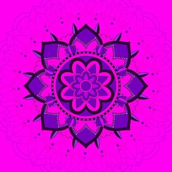 Wzór mandali na różowym tle