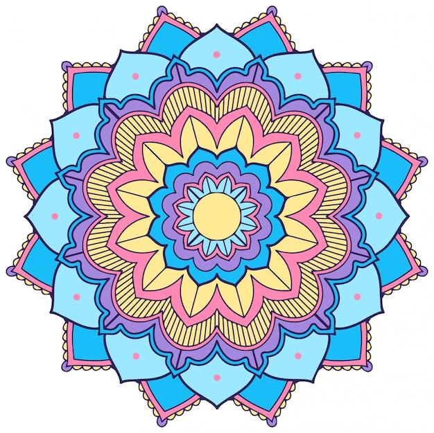 Wzór mandali w kolorze niebieskim i żółtym