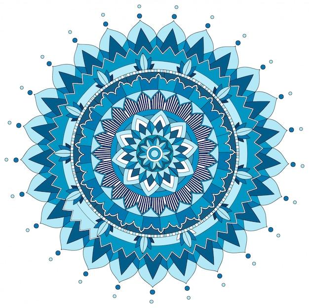 Wzór mandali w kolorze niebieskim