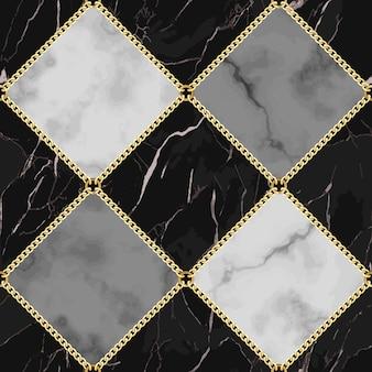 Wzór marmuru i biżuterii czarno-biała i szara kwadratowa marmurkowa powierzchnia ze złotymi łańcuszkami