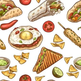 Wzór meksykańskie jedzenie