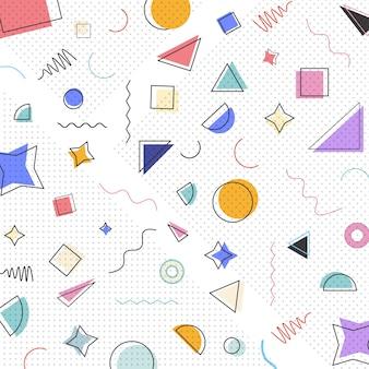 Wzór memphis o geometrycznych kształtach.