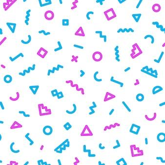 Wzór memphis składający się z kształtów w kolorze niebieskim i różowym na białym tle