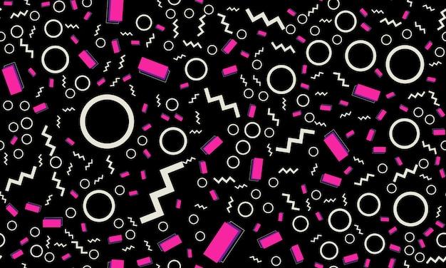 Wzór memphis. zabawne tło. kolory różowy, niebieski, żółty. wzory stylu memphis. ilustracja wektorowa. wzór. streszczenie kolorowe tło zabawy. hipsterski styl lat 80.-90.
