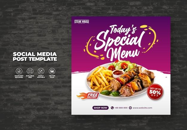 Wzór menu żywności dla mediów społecznościowych