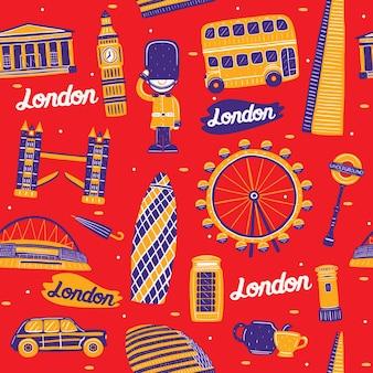 Wzór miasta londyn z elementami zabytków