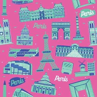 Wzór miasta paryża z elementami zabytków