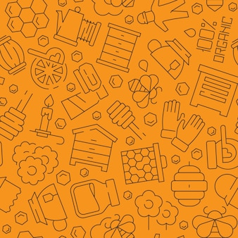 Wzór miodu. pszczoła miodna grzebień płynne zdrowe produkty pasieki symbole bezszwowe tło wektor. wzór miodu, pszczoły i ilustracja o strukturze plastra miodu