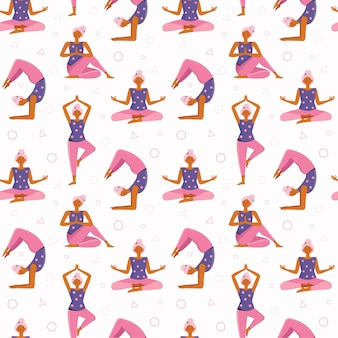 Wzór młoda kobieta robi jogę i medytację w domu. różne pozycje jogi i asany. dziewczyna uprawia sport, ćwiczenia, trening fitness, rozciąganie, rozgrzewka, wypoczynek.