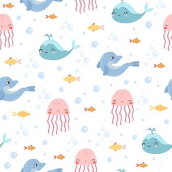 Wzór morski. meduza, delfin, wieloryb