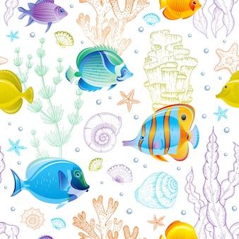 Wzór morze. tło oceanu z tropikalnych ryb, muszli, rafy koralowej, rozgwiazdy. marine vintage podwodne ilustracja.