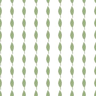 Wzór na białym tle roślin z małym zielonym prostym ornamentem liści leaf
