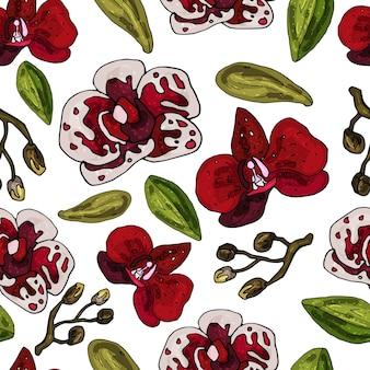 Wzór na białym tle z kwitnących storczyków. delikatny abstrakcyjny kwiatowy nadruk.