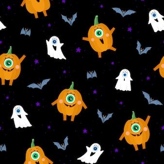 Wzór na czarnym tle halloween pumpkins duchy nietoperze i gwiazdy na tle ciemnego nieba