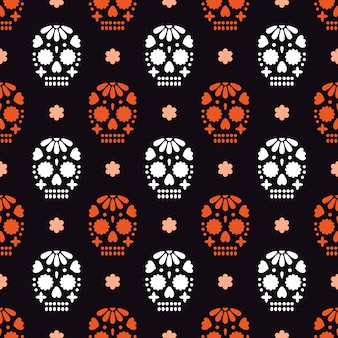 Wzór na dia de los muertos - meksykańskie wakacje dzień zmarłych.
