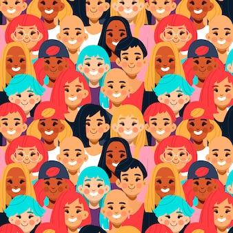 Wzór na dzień kobiet z różnorodnymi twarzami kobiet