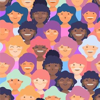 Wzór na dzień kobiet z twarzami kobiet