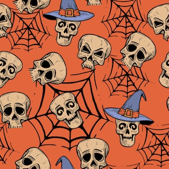 Wzór na halloween z czaszkami.