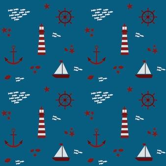 Wzór na motywie marynistycznym. z ilustracją przedstawiającą latarnię morską, łódź, rybaka, kotwicę i kierownicę.