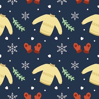 Wzór na nowy rok i boże narodzenie. rękawiczki, sweter i świerkowe gałązki. tło do nadruku na tkaninie lub papierze opakowaniowym.