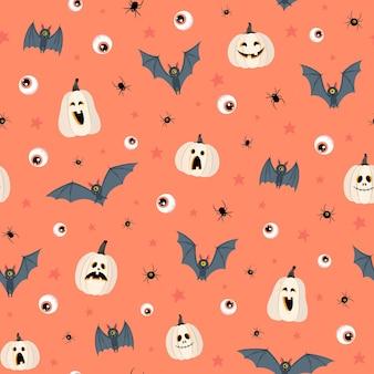 Wzór na pomarańczowym tle dynie nietoperze pająki oczy i gwiazdy w stylu płaski