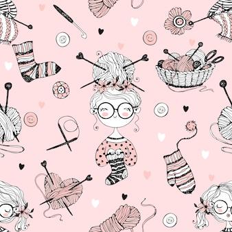 Wzór na temat dziania z uroczymi dziewiarskimi dziewczynami w stylu doodle.