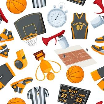 Wzór na temat koszykówki. ilustracje w stylu kreskówki. tapeta do gry w piłkę i sprzęt do koszykówki