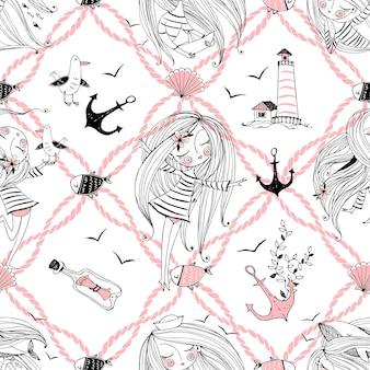 Wzór na temat morza z uroczymi dziewczynami, wielorybami i mewami w uroczym stylu doodle. wektor.