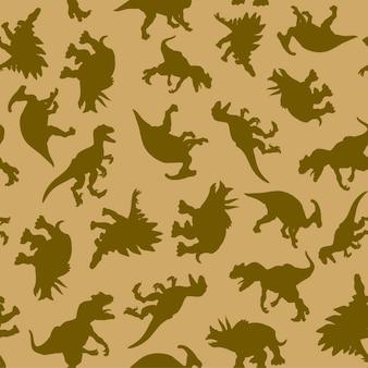Wzór narysowanych realistycznych sylwetek dinozaurów w naturalnych kolorach do druku i internetu. ilustracja wektorowa.