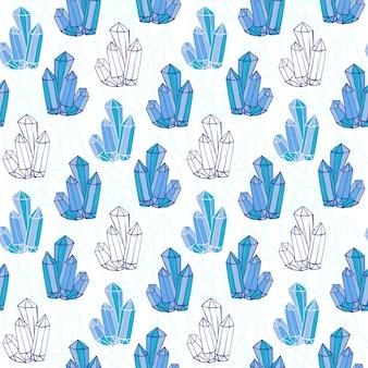 Wzór niebieski kryształów. minerały ręcznie rysowane skały. tło wektor mody