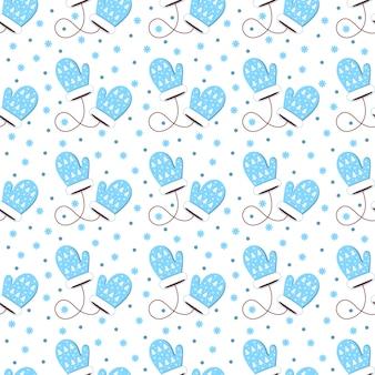Wzór niebieskie rękawiczki z płatkiem śniegu. płaska konstrukcja
