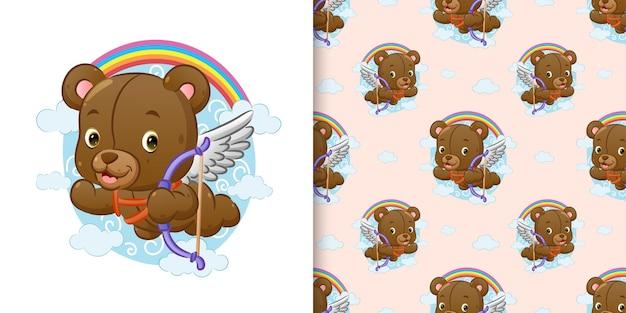 Wzór niedźwiedzia kupidyna trzyma strzałę i leci po niebie