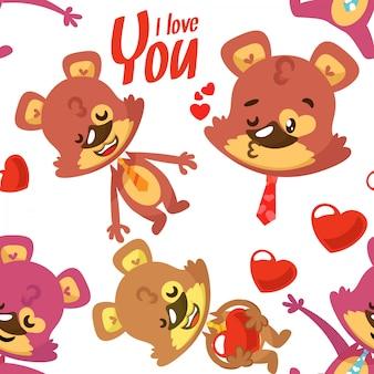 Wzór niedźwiedzie na walentynki
