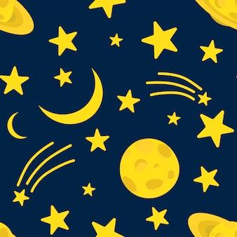 Wzór nocnego nieba, księżyc, kometa i błyszczące gwiazdy na ciemnym niebieskim niebie