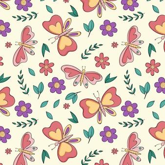 Wzór owadów i kwiatów