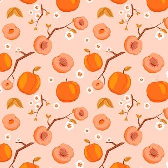 Wzór owoce z brzoskwiniami